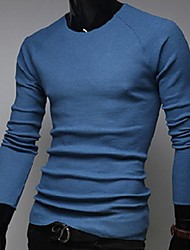 Men's Casual/Daily Regular Pullover,Solid Long Sleeve Others