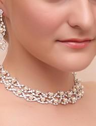 abordables -aleación preciosa boda de diamantes de imitación de novia collar y los pendientes de la joyería de