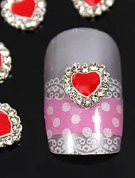 Недорогие -10шт красное сердце с ясно горный хрусталь сплава украшения искусства ногтя
