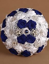 Bouquet sposa Tondo Rose Bouquet Matrimonio Raso Blu Come da immagine 20 cm ca.