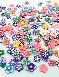 Недорогие -300pcs смешанный стиль фимо ломтик цветок серии ногтей украшения