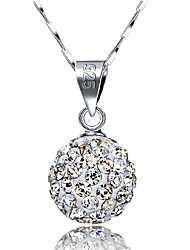 Women's Pendant Necklaces Ball Sterling Silver Rhinestone Basic Fashion Jewelry For Daily Casual Office & Career
