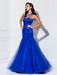 Mermaid / Trumpet One Shoulder Floor Length Tulle Prom Dress by TS Couture®