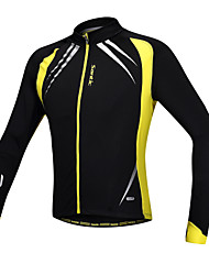 cheap -SANTIC Men's Cycling Jacket Bike Jacket / Jersey / Top Thermal / Warm, Windproof, Anatomic Design Patchwork Spandex, Fleece Yellow / Black