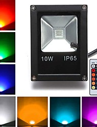 cheap -10W LED Floodlight 1 High Power LED 800 lm RGB K Remote-Controlled AC 85-265 V 1pc