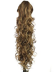 Claw Clip Synthetic 28 Inch Brown Long Curly Ponytail Color
