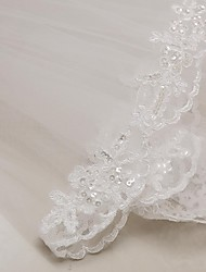 cheap -Two-tier Lace Applique Edge Wedding Veil Elbow Veils 53 Appliques 31.5 in (80cm) Tulle