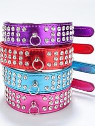 baratos -Gato Cachorro Colarinho Reflector Strass PU Leather Roxo Rosa Vermelho