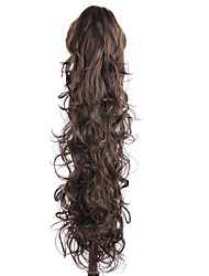 Claw Clip Synthetic 28 Inch Dark Brown Long Curly Ponytail