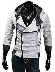 Lesen Men's Hoodie Fashion Contrast Color Oblique Zipper Casual Hoodie O