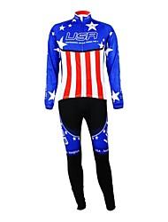 baratos -Kooplus Calça com Camisa para Ciclismo Mulheres Homens Unisexo Manga Comprida Moto Camisa/Roupas Para Esporte Conjuntos de RoupasZíper á