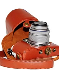 abordables -caja de la cámara patrón de litchi dengpin® pu cuero de la pluma Olympus E-PL7 con 17 mm / 14-42mm lente