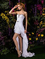 abordables -Funda / Columna Escote Corazón Asimétrica Raso / Encaje Vestidos de novia hechos a medida con Cristal / Cinta / Lazo por LAN TING BRIDE®