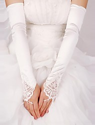 cheap -Lace Satin Opera Length Glove Bridal Gloves