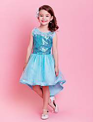 A-Line Princess Asymmetrical Flower Girl Dress - Cotton Sleeveless Jewel Neck with Flower(s) Sequins by ELLIE'S BRIDAL