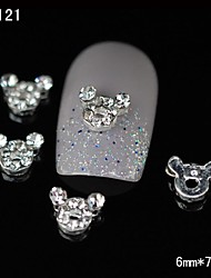 preiswerte -10pcs reizende super nette Maus diy Rhinestone-Nagelkunstdekoration