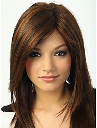 cheap -Wigs Straight Side Part Highlighted/Balayage Hair With Bangs Natural Wigs Brown Daily