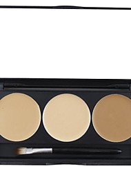 3 Color 5in1 Professional Blusher/Foundation/Concealer/Bronzer Makeup Cosmetic Palette with Mirror&Brush Set