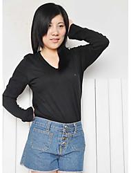 billige -Dame-Ensfarvet Vintage T-shirt
