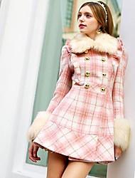 moda xadrez padrão doll® rosa das mulheres casaco de lã magro
