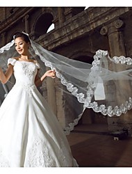 cheap -One-tier Lace Applique Edge Wedding Veil Cathedral Veils 53 118.11 in (300cm) Tulle