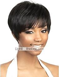 billige -Menneskehår Lågløs Paryk Brasiliansk hår Naturlig lige Paryk Pixie frisure Natur Sort Dame Kort Human Hair Capless Parykker