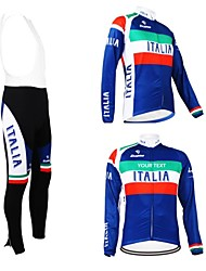 Kooplus Cycling Jersey with Bib Tights Men's Women's Unisex Long Sleeves Bike Jersey Bib Tights Clothing Suits Waterproof Zipper Wearable