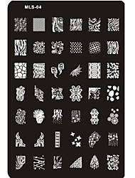 Недорогие -прекрасный ногтей штамповки изображение пластины ногтей шаблон гвоздь трафарет № 4
