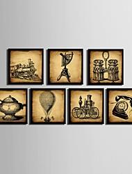 baratos -Natureza Morta Quadros Emoldurados / Conjunto Emoldurado Wall Art,PVC Preto Sem Cartolina de Passepartout com frame Wall Art