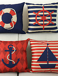 cheap -Set of 4 Square 18X18inch Nautical Style Anchor Sailor Sailing Cushion Cover Sofa Decor Throw Pillow Cushion Case