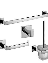 Недорогие -Современные нержавеющей стали с зеркальной полировкой Аксессуары для ванной комнаты, 4-х частей коллекция ванна набор