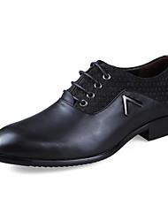 Недорогие -Муж. обувь Кожа Весна Осень Удобная обувь Туфли на шнуровке Цвет загара Черный Коричневый