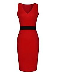Moulante Robe Femme Soirée / CocktailCouleur Pleine V Profond Mi-long Sans Manches Rouge Beige Toutes les Saisons Micro-élastique Moyen