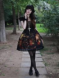 cheap -Gothic Lolita Dress Punk Lace Women's Dress Cosplay Short Sleeves Medium Length