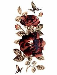 Недорогие -#(1) Временные тату Временные татуировки Тату с цветами Водонепроницаемый Искусство тела / Блеск / С рисунком / Waterproof