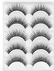 cheap -New 5 Pairs Natural Black Long Thick False Eyelashes Tender Eyelash Eye Lashes for Eye Extensions