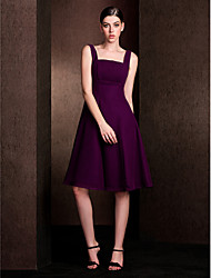 cheap -A-Line Square Neck Knee Length Chiffon / Stretch Satin Bridesmaid Dress with Draping by LAN TING BRIDE®