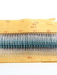 Недорогие -1 / 4w резисторы сопротивления металлической пленки 1% 10r-1m (30 x 25шт)