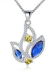 Женский Ожерелья-бархатки Ожерелья с подвесками Кулоны Свисающие Синтетические драгоценные камни Стерлинговое серебро Циркон Цирконий