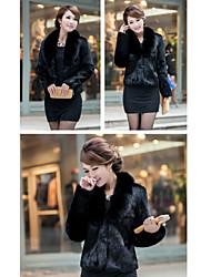 cuscino lungo manicotto di pelliccia partito / giacca casual finto (più colori)