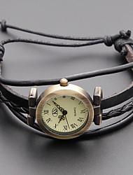 cheap -Women's Fashion Watch Bracelet Watch Japanese Quartz Genuine Leather Band Vintage Bohemian Black Khaki