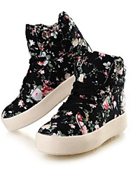 Women's Spring Summer Fall Winter Platform Comfort Canvas Outdoor Casual Platform Lace-up Black White