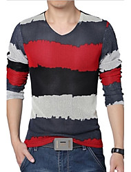 Men's Color Block Mesh T-shirt, Plus Size V Neck Long Sleeve