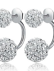 cheap -Women's Stud Earrings Front Back Earrings Classic Simple Style Sterling Silver Cubic Zirconia Imitation Diamond Ball Jewelry Wedding
