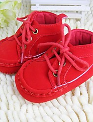 Boys' Girls' First Walkers Crib Shoes Fleece Spring Fall Winter Casual Lace-up Flat Heel Red Brown Beige Under 1in