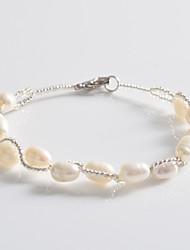 billige -Dame Strand Armbånd - Perle, Sølvbelagt Unikt design, Mode Armbånd Hvid Til Fest Daglig Afslappet