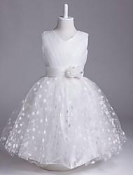 Vestido de menina de flor de joelho de uma linha de joelho - organza com decote em v sem manga com flor