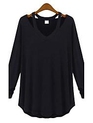 T-shirt Da donna Casual Semplice Primavera / Autunno,Tinta unita A V Cotone Bianco / Nero / Grigio Manica lunga Sottile