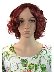 mulheres cosplay cabelo ondulado perucas sintéticas profundos curtos de calor vinho tinto resistente
