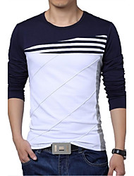 cheap -Men's Sports Active Plus Size Cotton Slim T-shirt - Striped / Color Block Black & White, Patchwork Round Neck / Long Sleeve